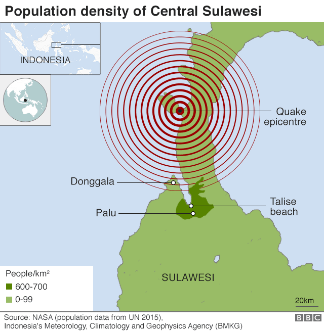 Map showing population density in Sulawesi and location of earthquake