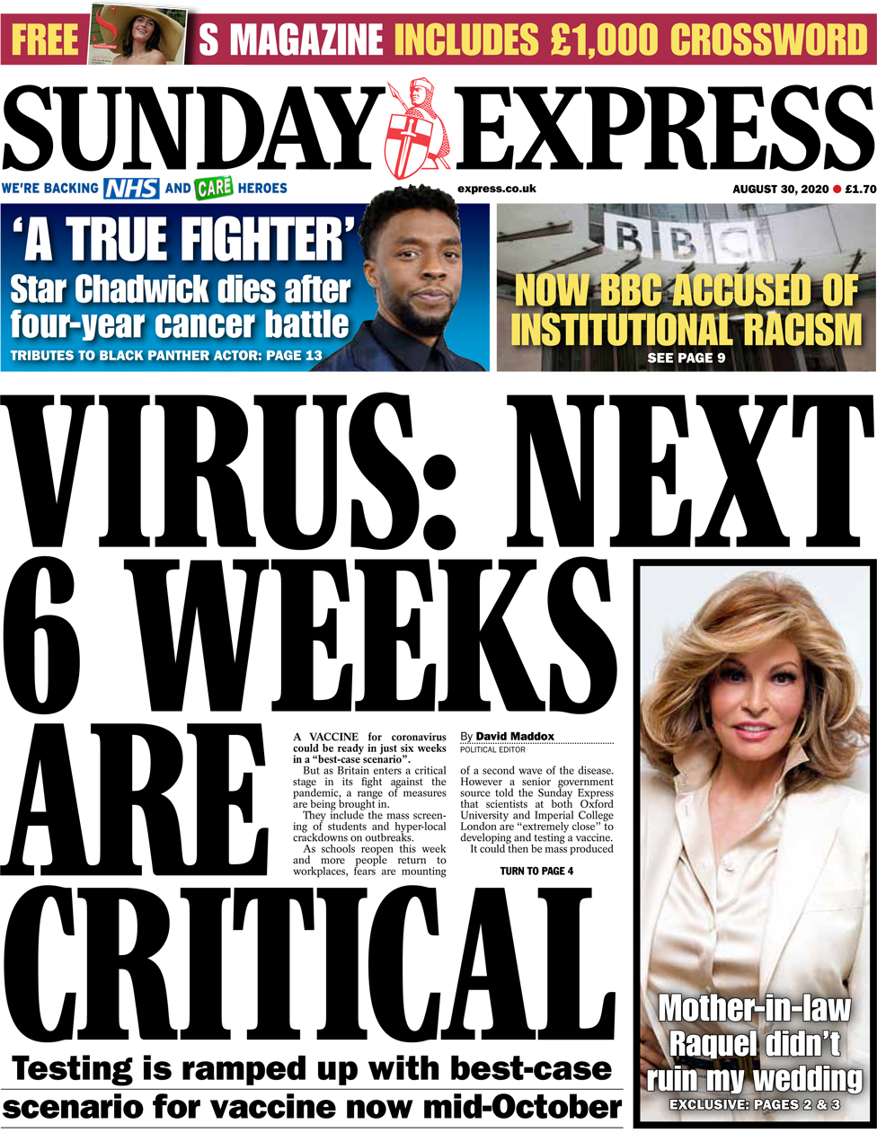 The Sunday Express front page 30 August 2020