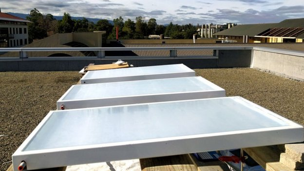 Skycool Systems' fluid cooling panels being tested on a roof