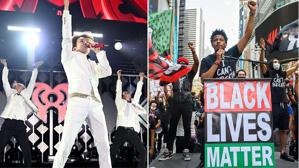Composite image of K-Pop`s Hope and BTS, and Black Lives Matter protesters