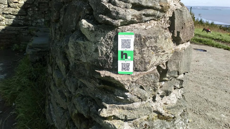 HistoryPoints.org QR code plaque on remains of Maesteg House, Kilvey Hill, Swansea