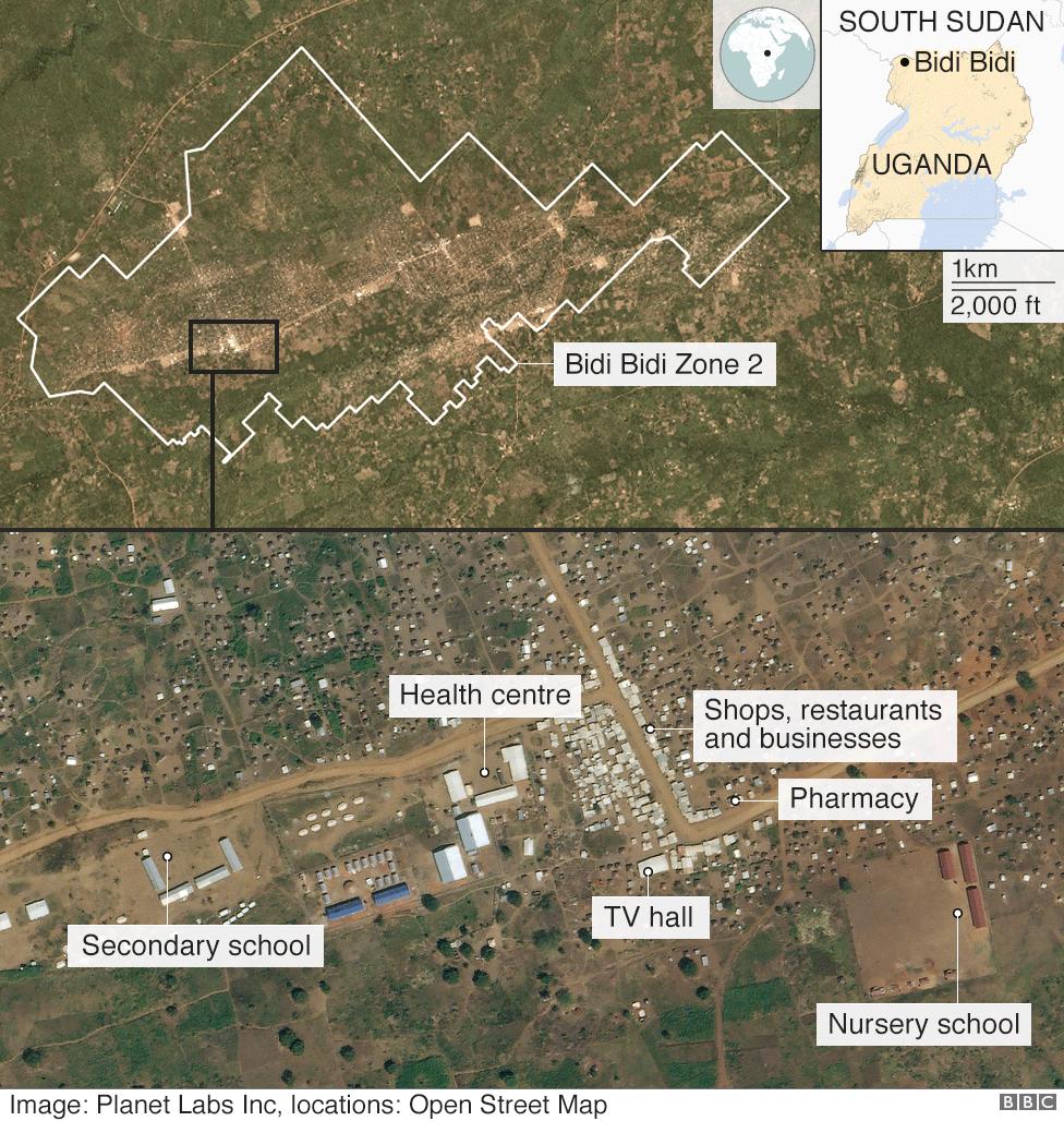 Satellite image of Bidi Bidi camp, showing schools, hospitals, shops and businesses