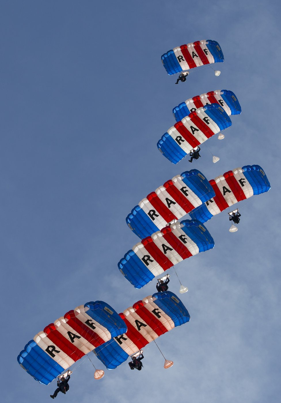 RAF Falcons Display team practice jumps at the Lake Elsinore sky diving centre, California.
