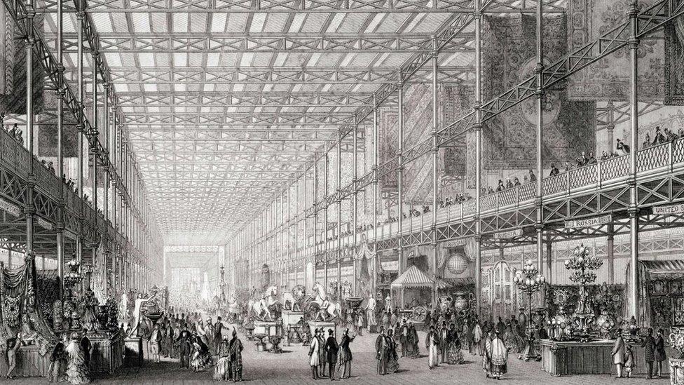 """Ilustración de la """"Gran Exposición de las obras de la industria de todas las naciones"""" de 1851."""