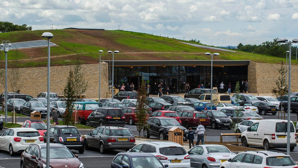 Cars parked outside Gloucester Services
