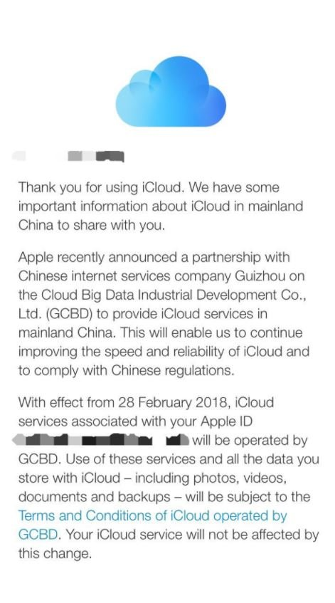 The notice from Apple