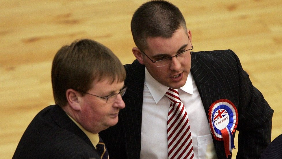 Willie Frazer and Paul Berry at Newry and Armagh election count in 2007