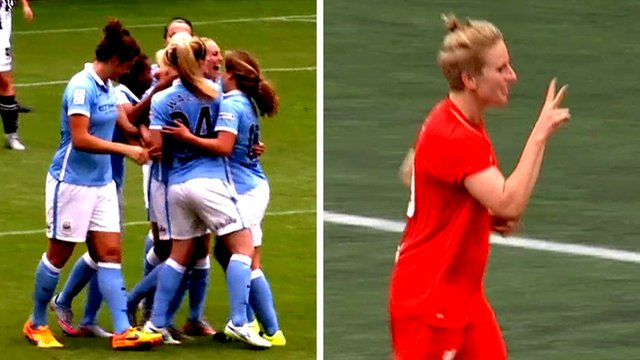 Manchester City's Steph Houghton and Liverpool's Natasha Dowie celebrate after scoring in the Women's Super League