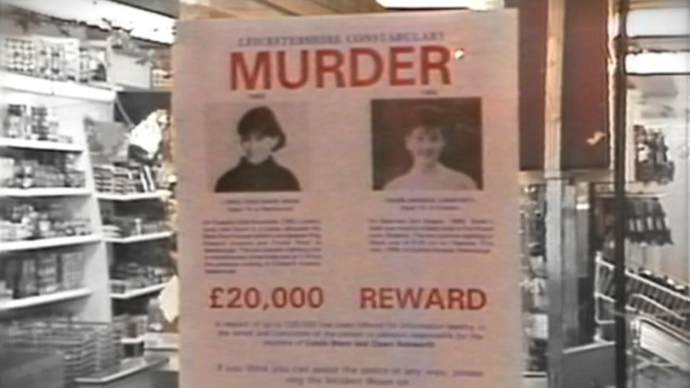 A poster asking for help catching the killer of schoolgirls Lynda Mann and Dawn Ashworth