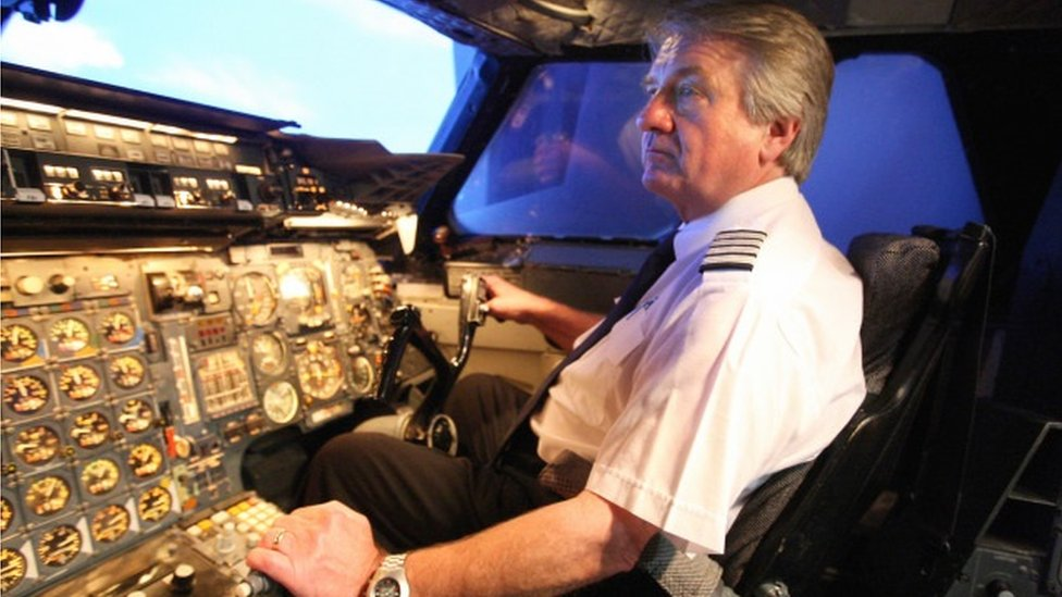 Mike Bannister in Concorde's cockpit