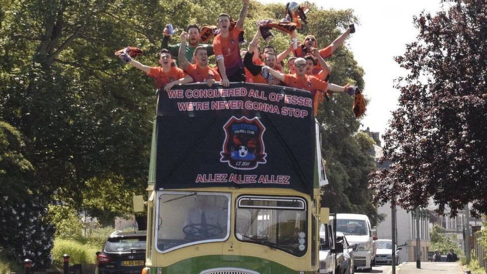 Duckpond FC celebrates league win with open top bus tour