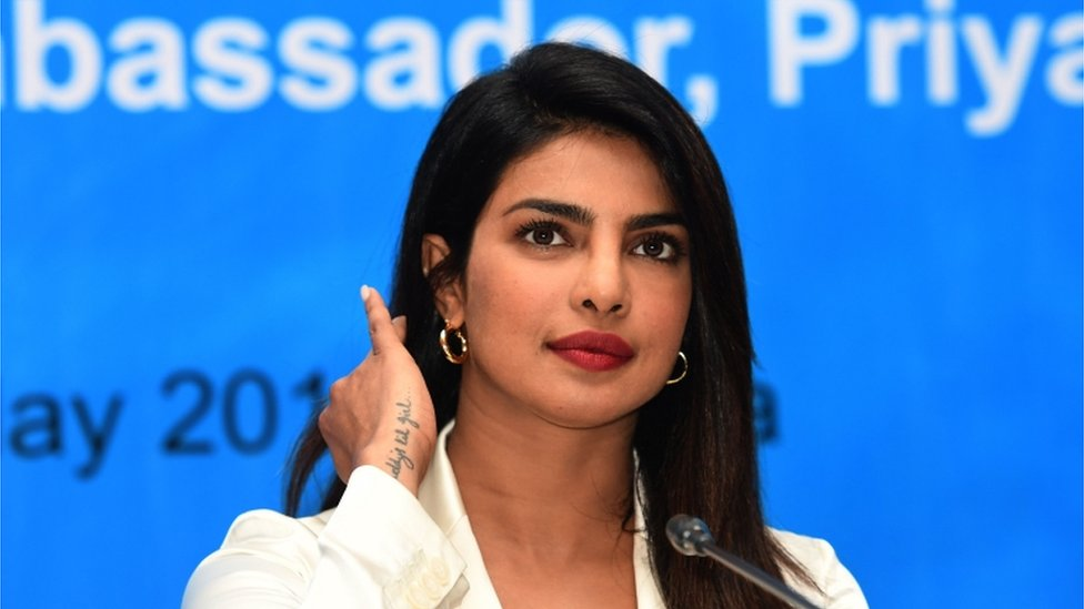 Priyanka Chopra speaks during a press conference in the Bangladeshi capital Dhaka on May 24, 2018