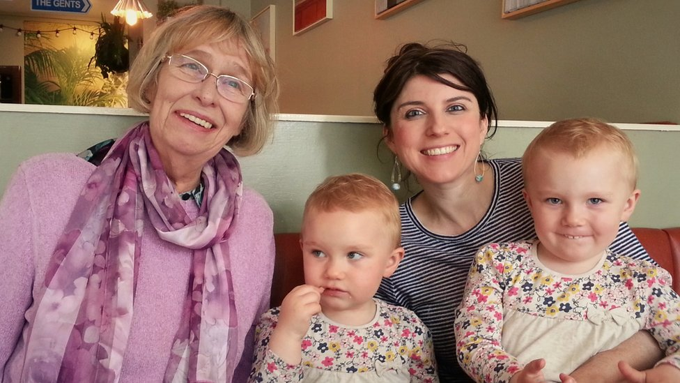 Elaine with her grandchildren