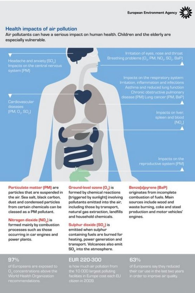 The health impacts of air pollution mapped - an EEA graphic