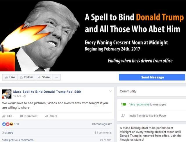 A Facebook page has been set up to promote the mass spell-casting