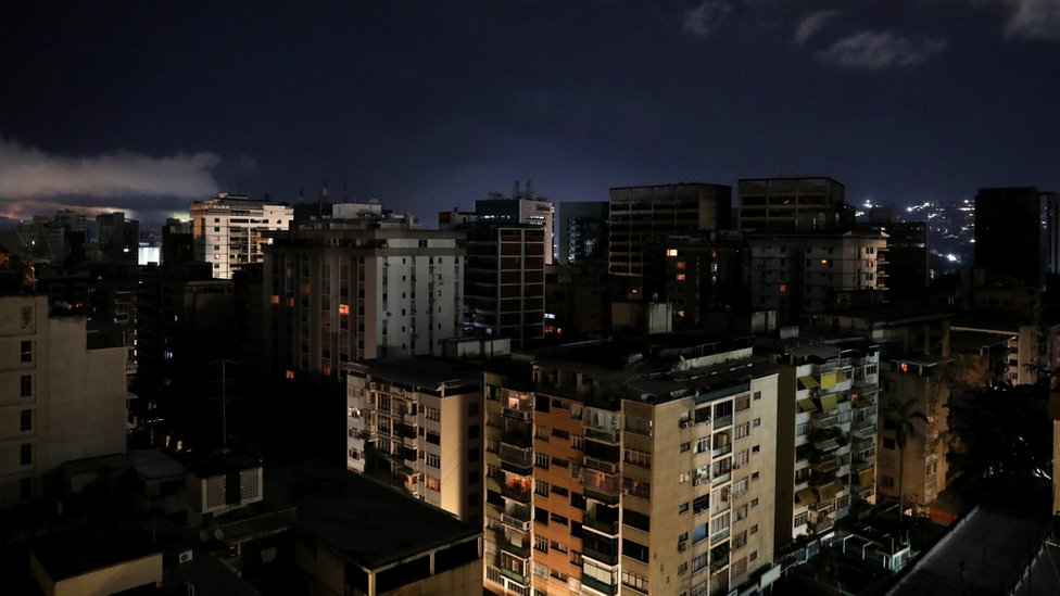 A general view of Caracas during a blackout