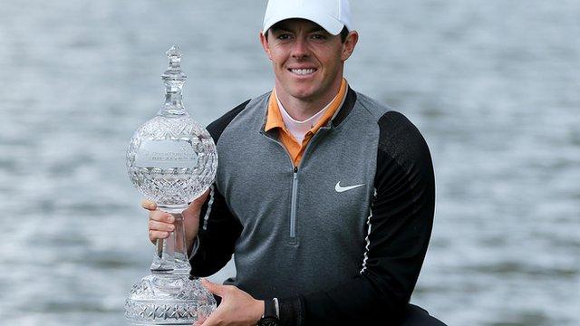Rory McIlroy celebrates winning the Irish Open