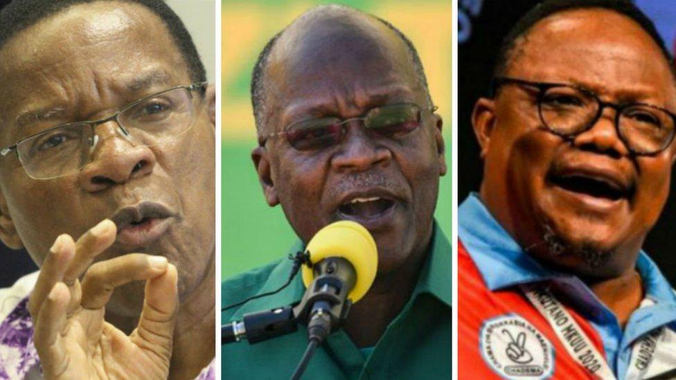 L-R: Bernard Membe, John Magufuli and Tundu Lissu