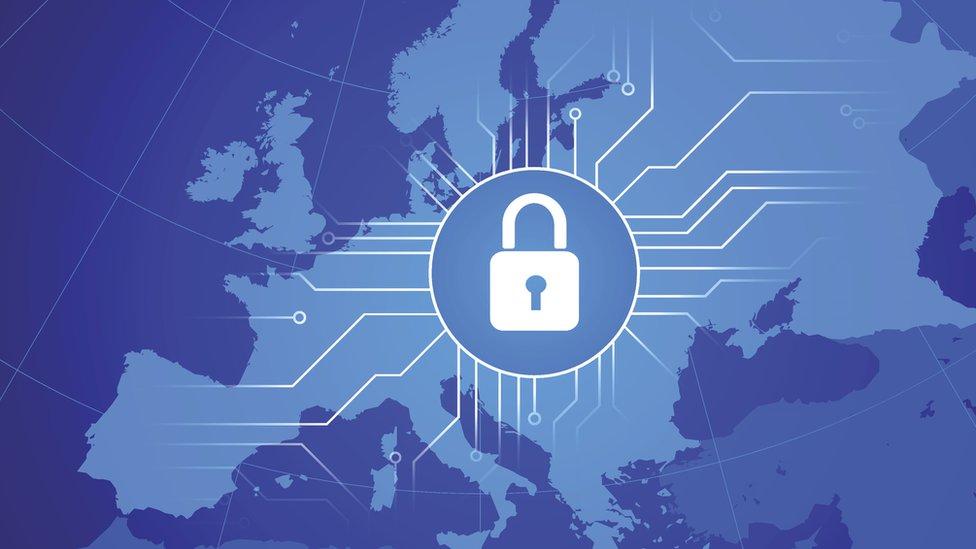 Europe map with data padlock illustration