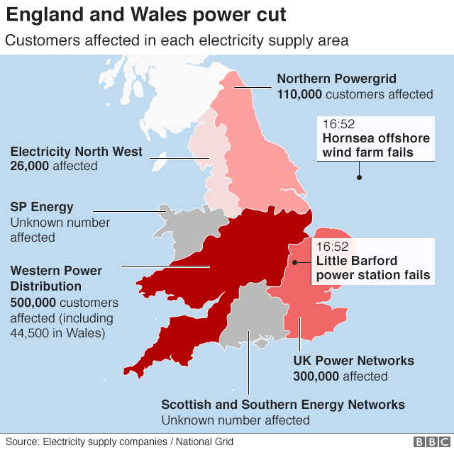 Map showing customers affected by the power cut