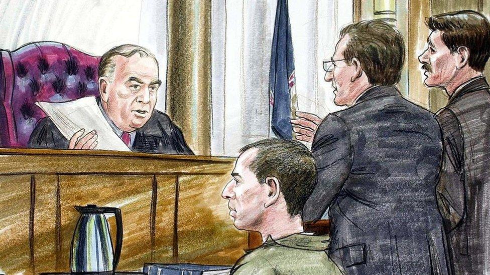 Ilustración del juicio a John Walker Lindh