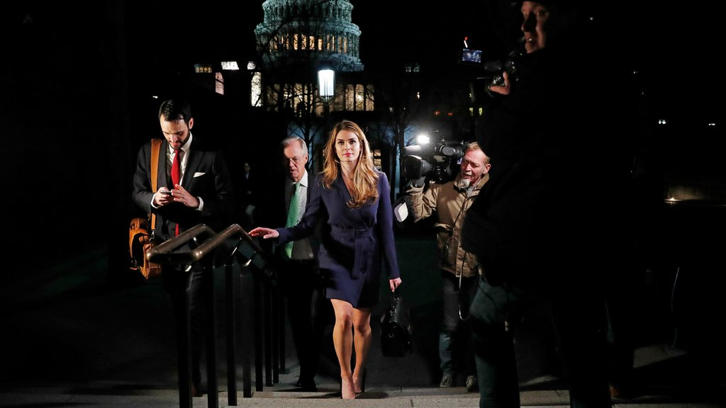 White House Communications Director Hope Hicks leaves the U.S. Capitol after attending the House Intelligence Committee closed door meeting