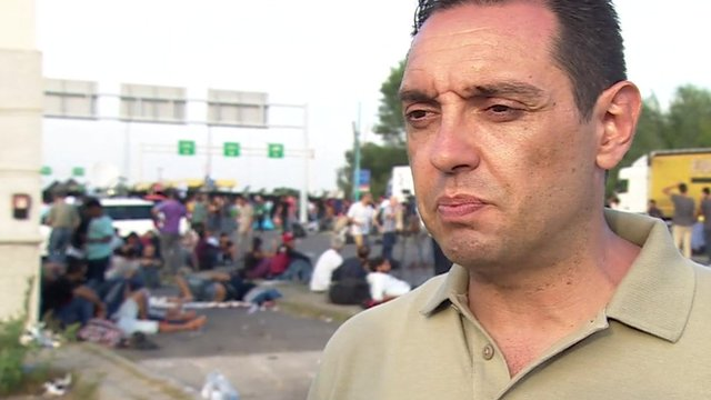 Serbian minister Alexander Vulin, in charge of the government's working committee on migrants