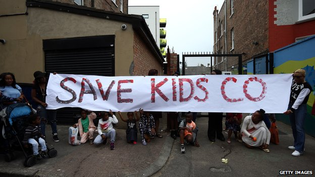 Protest outside Kids Company premises in London on 5 August 2015