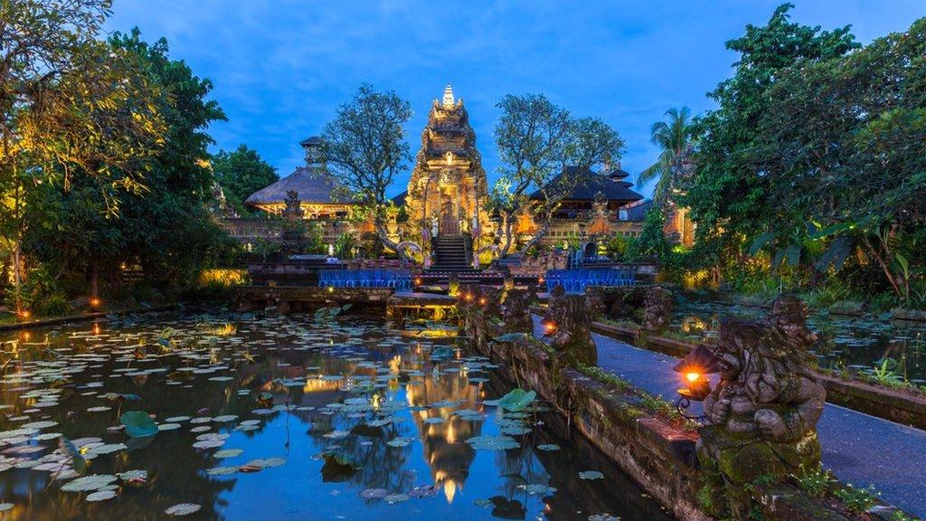 Pura Saraswati Temple at dusk, Bali