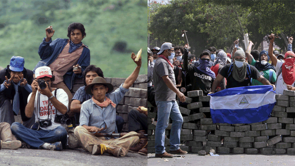 A photojournalist sits among Sandinista rebels in 1979/Students stand behind a barricade close to Nicaragua's Technical College during protests against government's reforms in the Institute of Social Security (INSS) in Managua on April 21, 2018