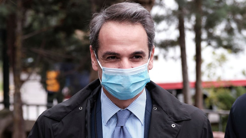 Greek Prime Minister Kyriakos Mitsotakis in a face mask