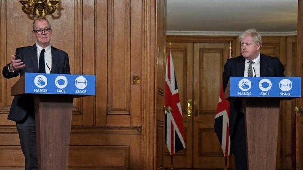 Sir Patrick Vallance and Boris Johnson