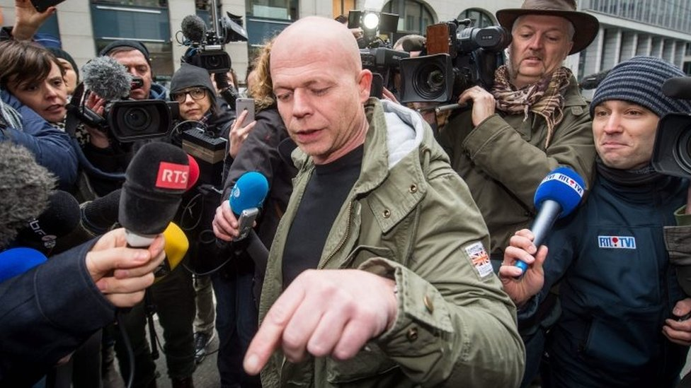 Sven Mary speaks to the press after a meeting with his client at the Federal Police building in Brussels, Belgium, 19 March 2016