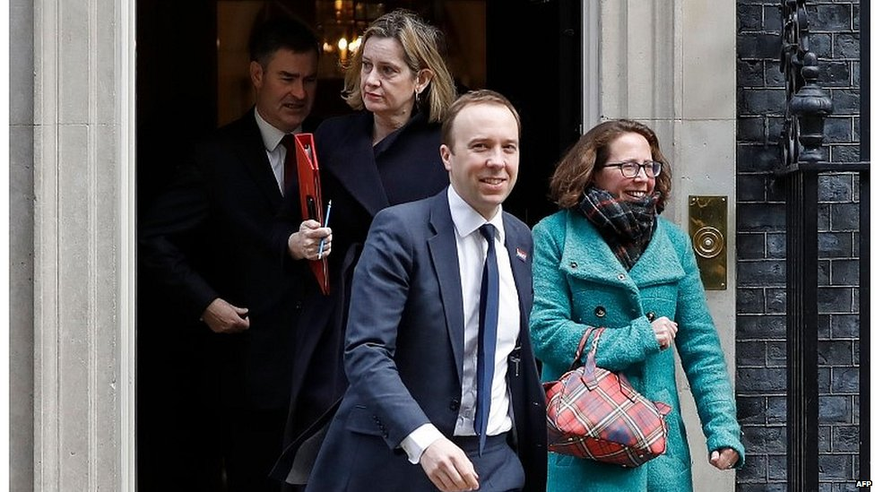 Matt Hancock, Amber Rudd and other members of the cabinet leave Downing Street