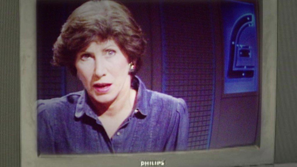Valerie Singleton on the BBC's Money Programme in 1986