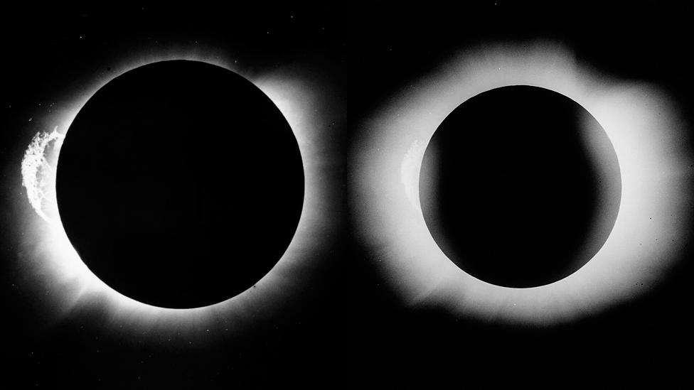 Dos de las imágenes que logró tomar el astrónomo Arthur Eddington que confirmaron la teoría de general de la Relatividad.