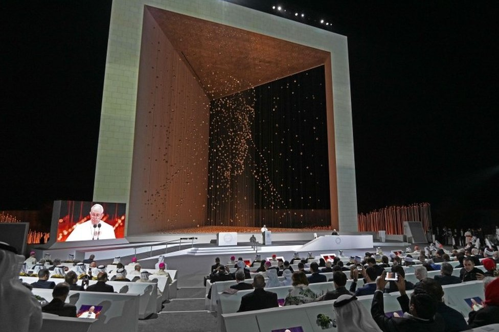 Pope Francis addresses a conference of religious leaders in Abu Dhabi (4 February 2019)