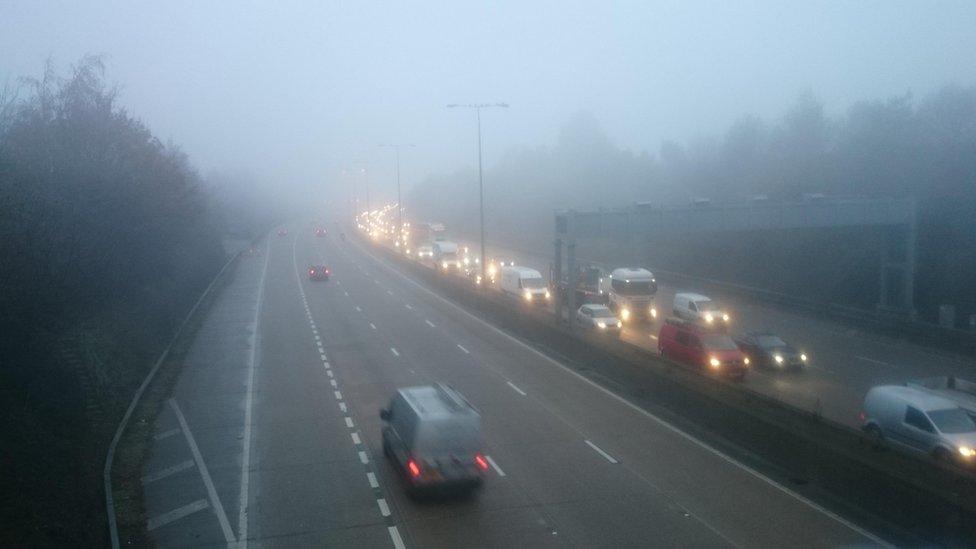 Fog on the M25 motorway