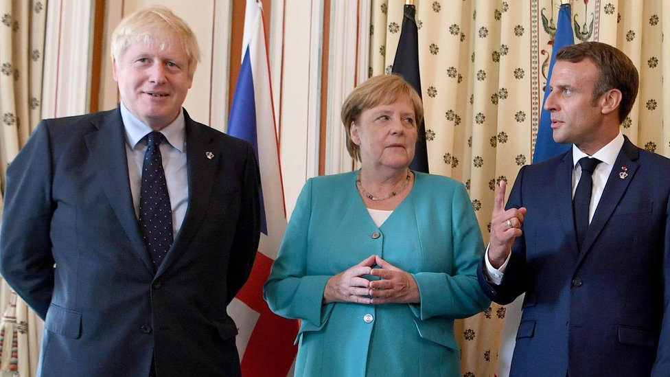 "Britain""s Prime Minister Boris Johnson is joined by Germany""s Chancellor Angela Merkel, France""s President Emmanuel Macron"