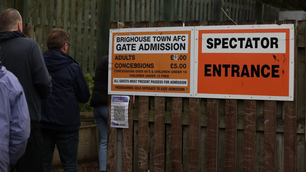 Fans queue to get into Brighouse Town AFC
