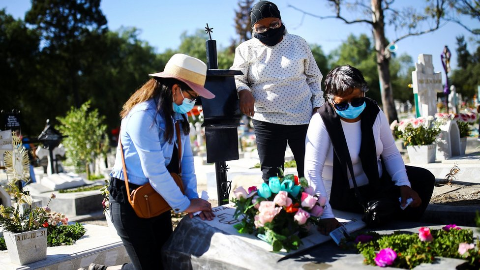 Three women visit a grave in Mexico