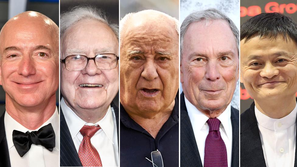 Jeff Bezos, Warren Buffett, Amancio Ortega, Michael Bloomberg y Jack Ma.