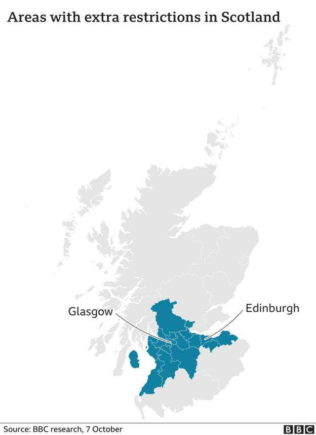 Scotland map - new rules 7 Oct