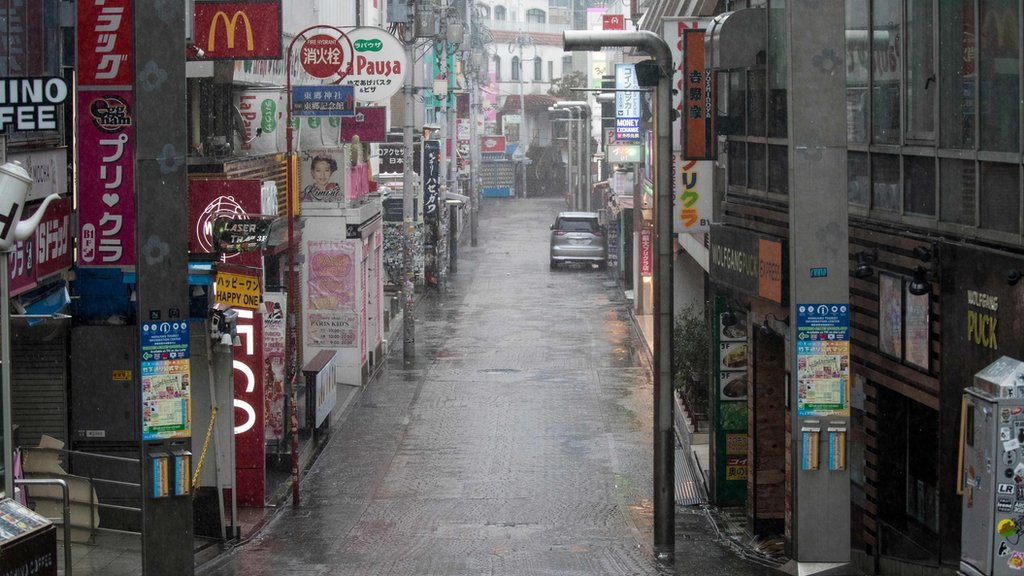The usually very busy Harajuku district of Tokyo