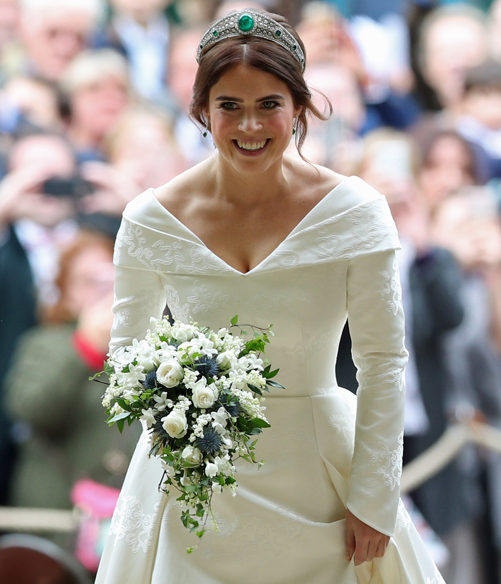 "Princess Eugenie arrives for her wedding to Jack Brooksbank at St George""s Chapel in Windsor Castle."
