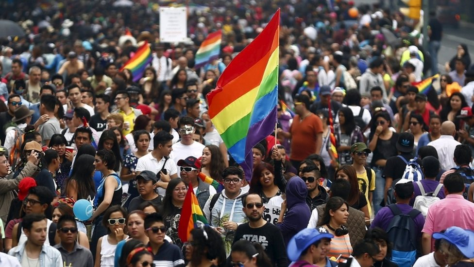 A Gay Pride march in Mexico City this year.