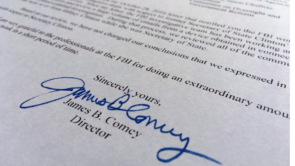 James Comey's letter to Congress on the Hillary Clinton emails