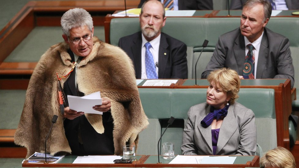 Ken Wyatt, wearing a traditional kangaroo skin coat, delivers his maiden speech in parliament