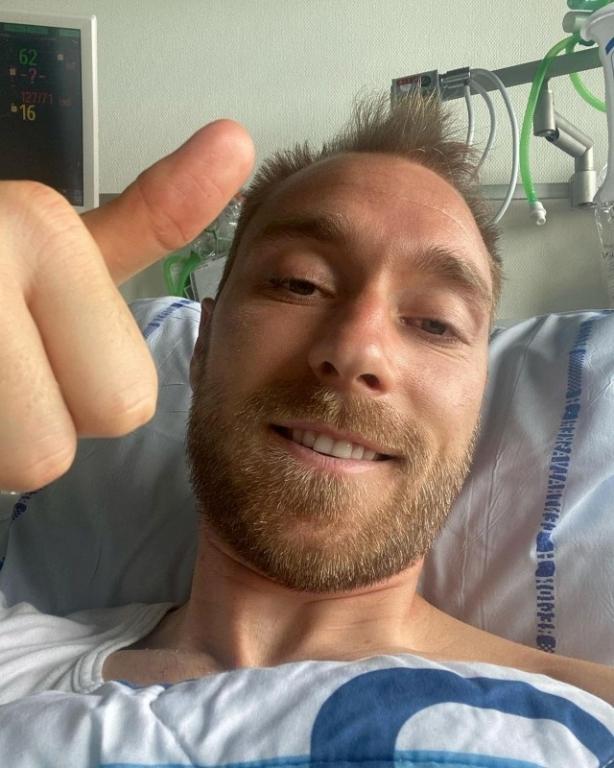 Christian Eriksen en el hospital