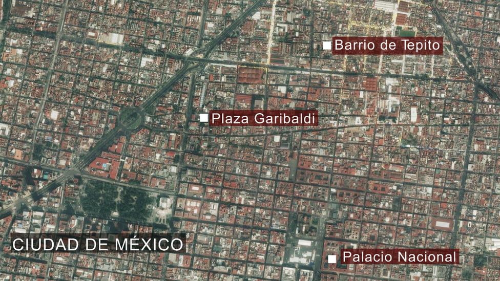 Un mapa del centro de Ciudad de México